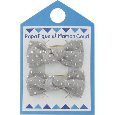 Small bows hair clips etoile or gris