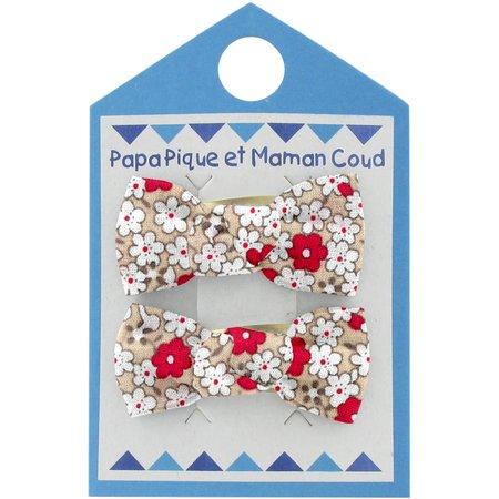 Barrettes clic-clac petits noeuds fleurette rouge
