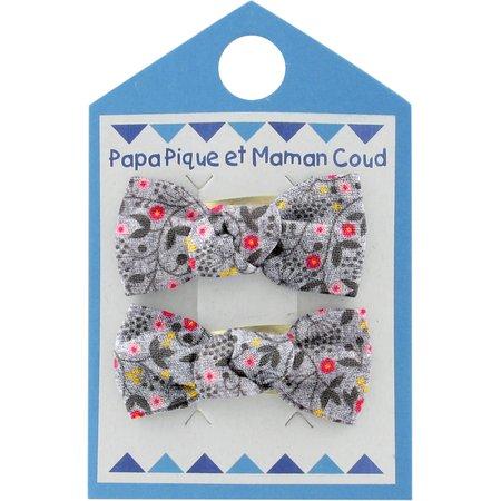 Barrettes clic-clac petits noeuds liane fleurie