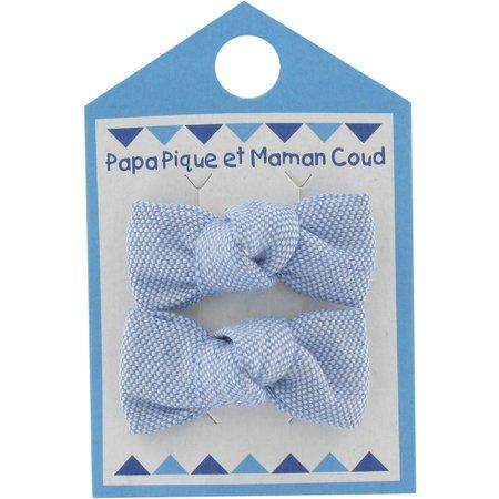 Small bows hair clips oxford blue