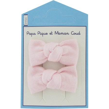 Small bows hair clips light pink