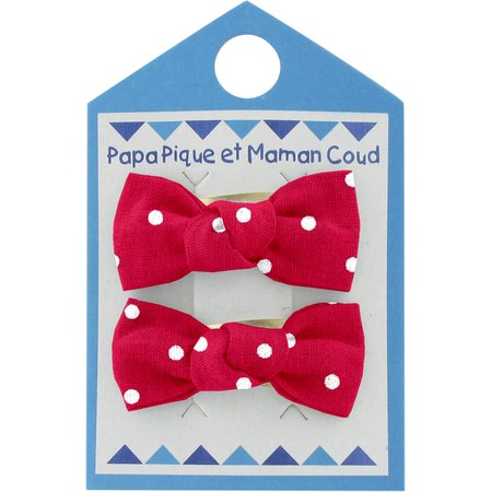 Small bows hair clips red spots