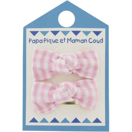 Small bows hair clips pink gingham