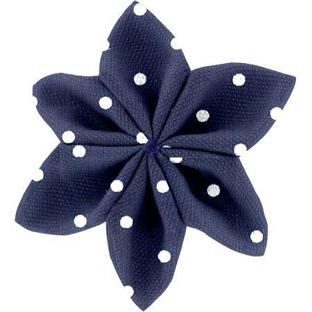 Pasador flor estrella lunares azul marino