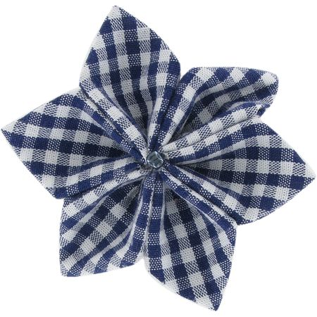 Pasador flor estrella cuadros vichy azul marino