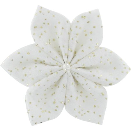 Star flower 4 hairslide white sequined