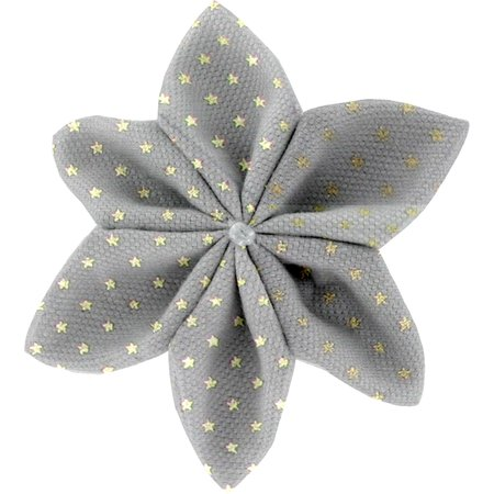 Star flower 4 hairslide etoile or gris