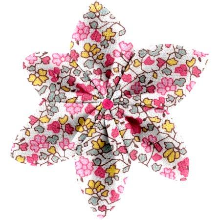 Barrette fleur étoile 4 jasmin rose