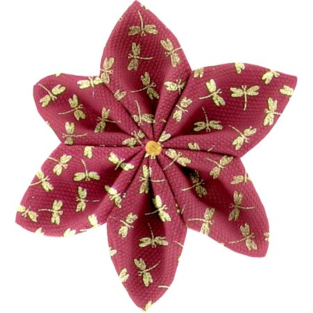 Star flower 4 hairslide ruby dragonfly