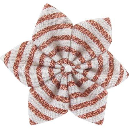 Barrette fleur étoile 4 rayures cuivrées