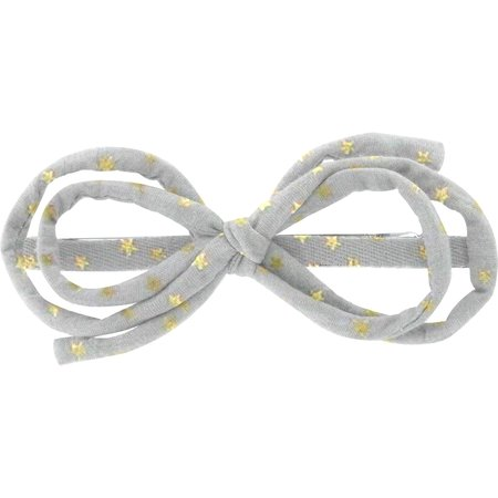 Barrette noeud arabesque etoile or gris