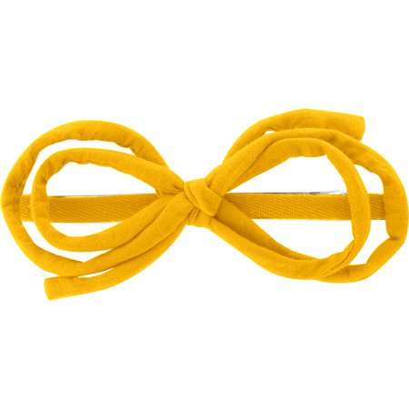 Barrette noeud arabesque jaune ocre
