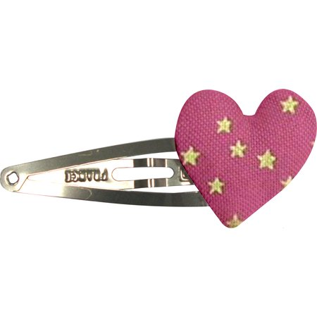 Heart hair-clips etoile or fuchsia