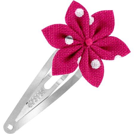 Barrette clic-clac fleur étoile pois fuchsia