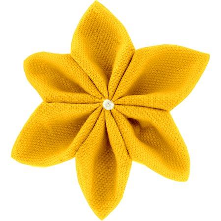 Barrette fleur étoile 4 jaune ocre