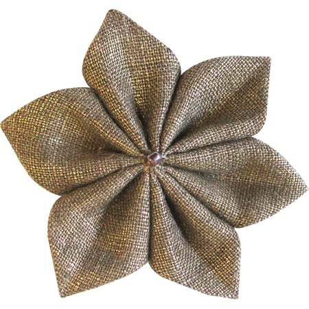 Star flower 4 hairslide gold linen