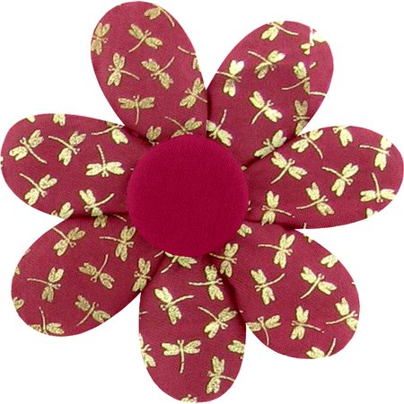 Pasador flor margarita  libélula rojo
