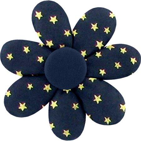 Barrette fleur marguerite etoile or marine