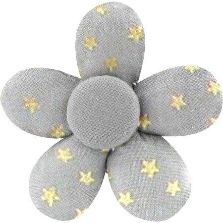 Pasador mini flor etoile or gris