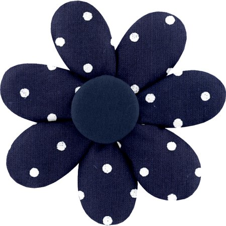 Fabrics flower hair clip navy blue spots