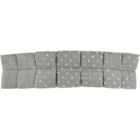 Grande barrette plissée etoile or gris