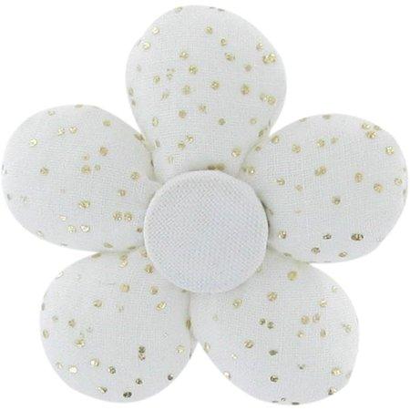 Mini flower hair slide white sequined