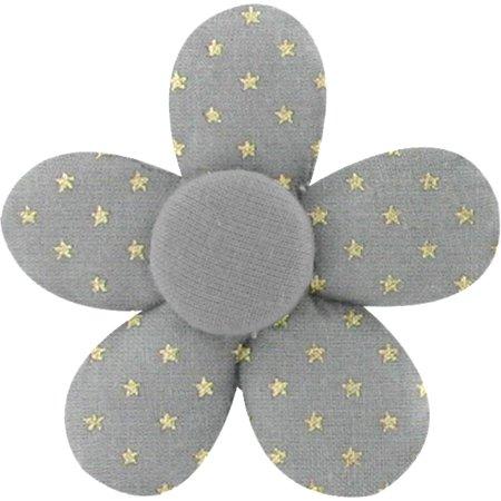 Petite barrette mini-fleur etoile or gris