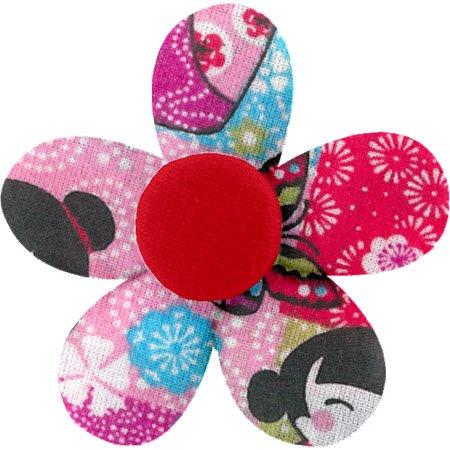 Petite barrette mini-fleur kokeshis