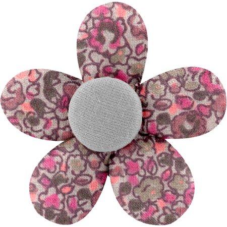Petite barrette mini-fleur lichen prune rose