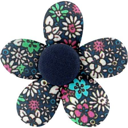Petite barrette mini-fleur milli fleurs vert azur