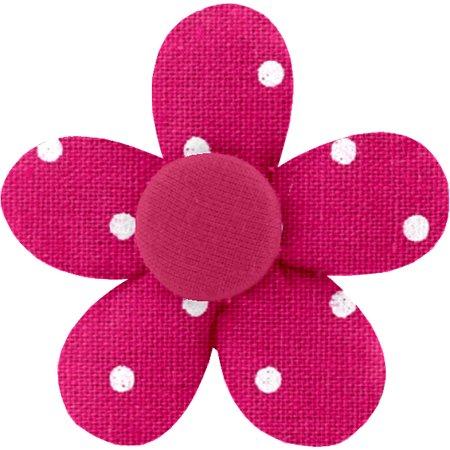 Petite barrette mini-fleur pois fuchsia