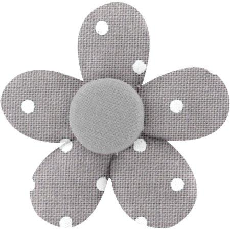 Petite barrette mini-fleur pois gris clair