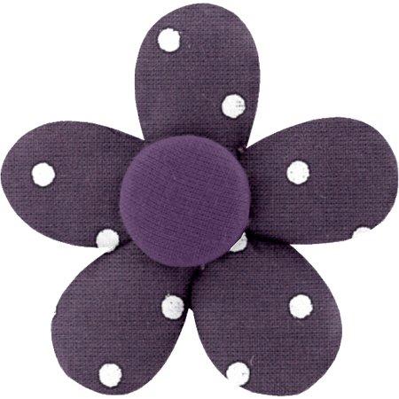 Petite barrette mini-fleur pois prune
