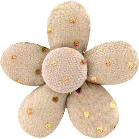 Petite barrette mini-fleur pois cuivré rose