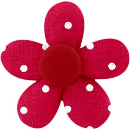 Petite barrette mini-fleur pois rouge