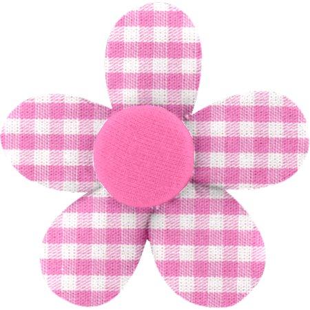 Petite barrette mini-fleur vichy fuchsia