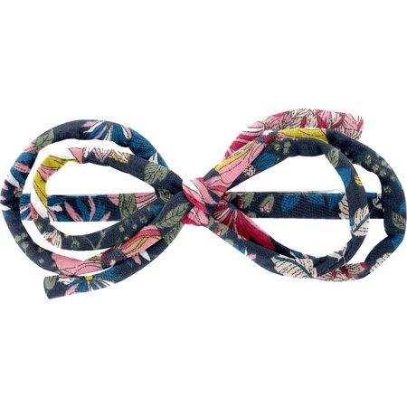 Barrette noeud arabesque dahlia rose marine