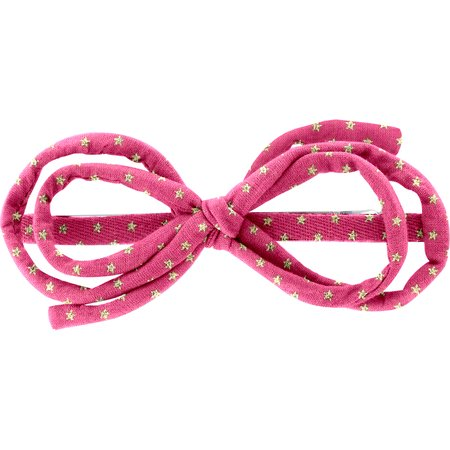 Barrette noeud arabesque etoile or fuchsia