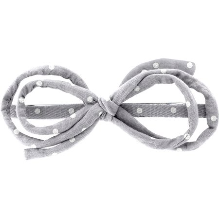 Barrette noeud arabesque pois gris clair