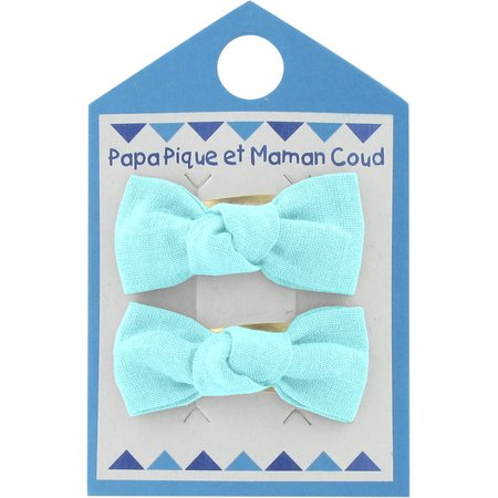 Small bows hair clips azur