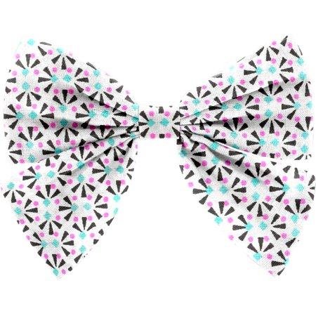 Barrette noeud papillon eclats fluo