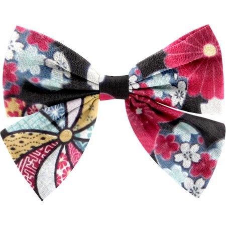 Barrette noeud papillon fleurs du mékong