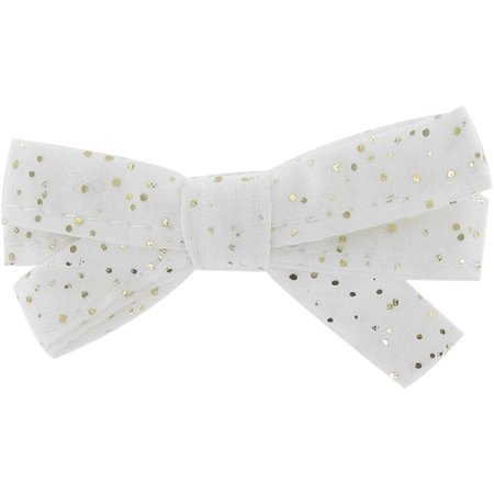 Ribbon bow hair slide white sequined