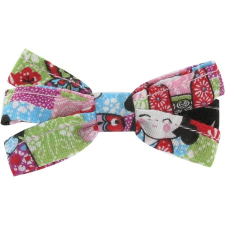 Ribbon bow hair slide kokeshis