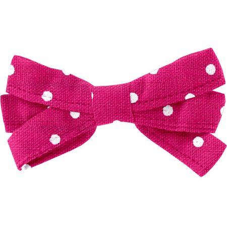 Ribbon bow hair slide fuschia spots