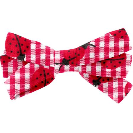 Ribbon bow hair slide ladybird gingham