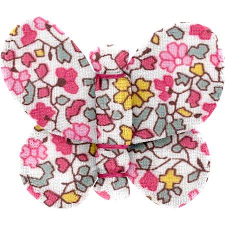 Barrette petit papillon jasmin rose