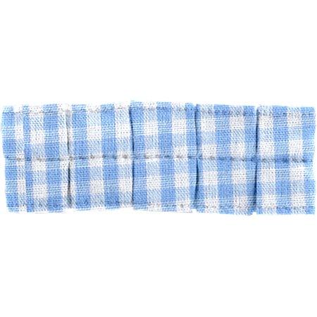 Small pleated hair slide sky blue gingham