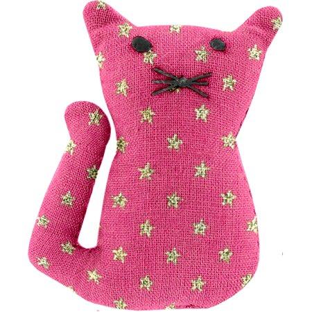 Petite barrette chat etoile or fuchsia