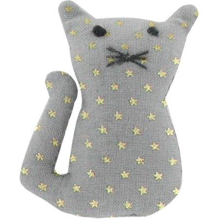 Petite barrette chat etoile or gris
